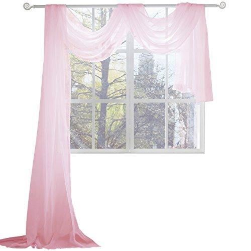 KEQIAOSUOCAI Pink Sheer Window Scarf-Valance,52