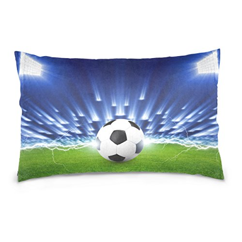 ALAZA Sport Ball Football Soccer Cotton Lint Pillow Case,Double-sided Printing Home Decor Pillowcase Size 16''x24'',for Bedroom Women Girl Boy by ALAZA
