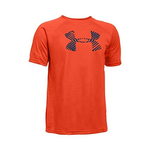 Under Armour Boys' Tech Big Logo T-Shirt, Dark Orange (861), Youth Small