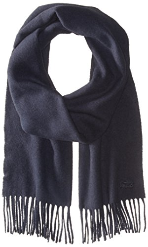 Lacoste Women's Solid Wool Cashmere Scarf, Navy Blue, One Size by Lacoste