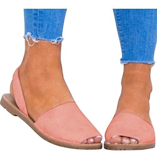 (Rainlin Women's Casual Summer Slip On Espadrille Sandals Slingback Flat Shoes Size 7.5 Pink)