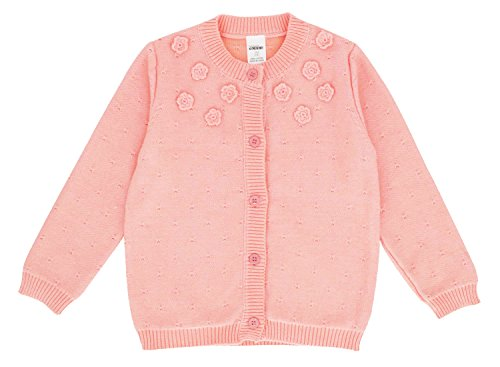 (FULL BLESSING Baby Girl Cable Knitted Cardigan Kid Pointelle Sweater Coat Pink 3-4 Years)