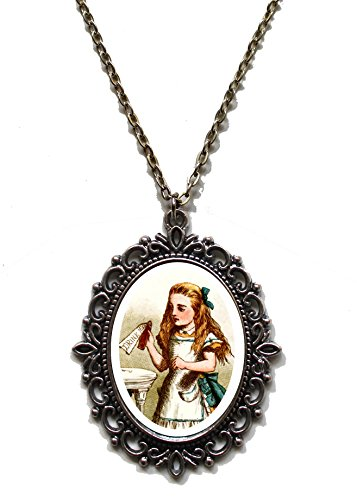 Victorian Vault Art Painting Alice in Wonderland Steampunk Pendant Necklace on Chain (026 Drink Me) (Goth Cheshire Cat Costume)