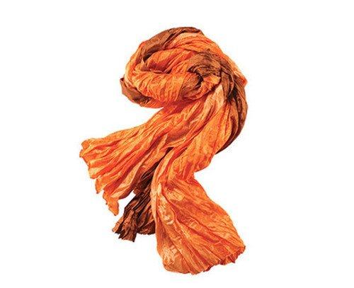 Avon Crinkle Scarf - Deep Orange/ Brown