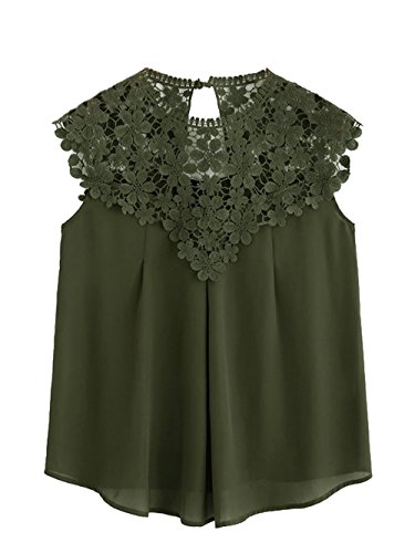 Milumia Women's Keyhole Back Daisy Lace Shoulder Shell Top X-Small Green