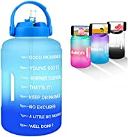 BuildLife Gallon Water Bottle with Time Markings & Straw BPA Free Motivational Gradient Water Jug Leakproo