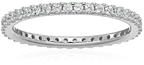 Platinum-Plated Sterling Silver All-Around Band Ring set with Round Swarovski Zirconia (1/2 cttw), Size 6