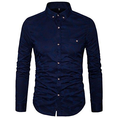 Navy Blue Button Down Shirt - 3