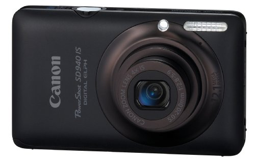 Canon PowerShot SD940IS 12.1MP Digital Camera with 4x Wide Angle Optical Image Stabilized Zoom and 2.7-inch LCD (Black) (12.1 Mp Digital Camera)