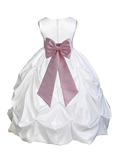 - ekidsbridal White Satin Taffeta Pick-Up Bubble Flower Girl Dress Mini Bride Dress 301T 4