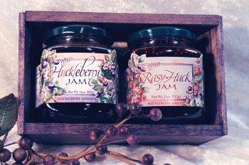 Huckleberry Rasy-Huck Jam 5oz ea Gift-Set Fresh Real Wild Montana Grown fr Bounty Foods Natural Fresh Real Fruits & Herbs Gluten-Free Non-GMO Toppings Dessert Fillings (HbryRsy-Hck, 5oz ea GS)