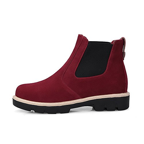 Heels AgooLar Boots Solid Toe Low Red Imitated Women's Low Top Closed Round Suede xOywr0PqTO