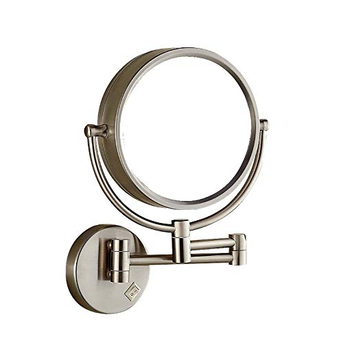 (Wall Mount Makeup Mirror with Lights and Magnification, Makeup Vanity Mirror Retractable Makeup Application (Color : Silver, Size : Exposed Plug))