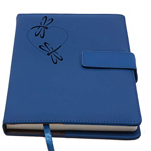 The 2 Dragonflies Refillable Writing Journal | Faux Leather Cover, Magnetic Clasp + Pen Loop | Blank Notebook | 200 Lined Pages, 6 x 8.5 Inches for Travel, Personal, Poetry - Dragonfly Blue Note