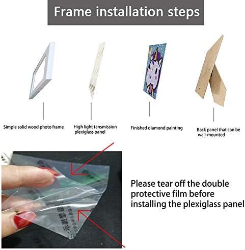 Easy 5D Diamond Painting Kit for Kids, with Wooden Frame, Full Diamond Painting Digital Kit (owl)