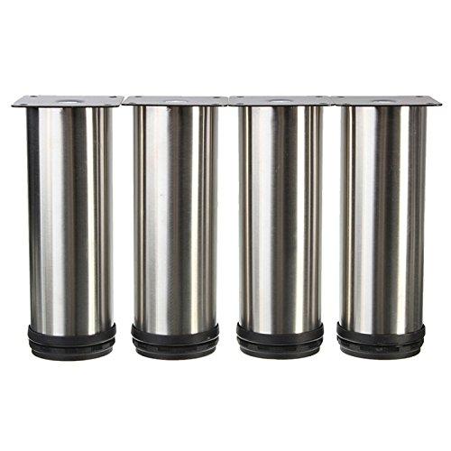 4pcs 15*6cm Furniture Adjustable Cabinet Sofa Bed Leg Feet (Silver) - 1
