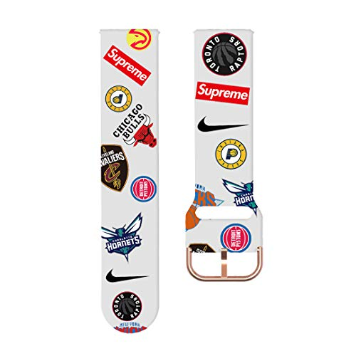 Daze Strap for Samsung/Huawei 20mm 22mm Soft Silicone Replacement Bands Basketball Sports Sunflowers or US-Flag or Rainbow(Basketball-W 20mm)
