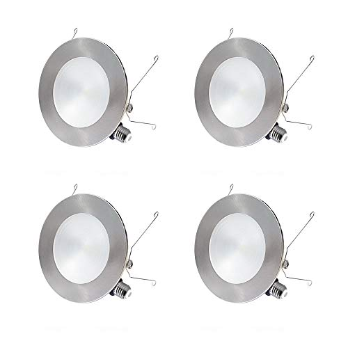 "- 6"" LED Recessed Light, 2 in 1 Trim Color Options, 12W Dimmable LED Recessed Downlights, Retrofit LED Can Lights, Slim LED Ceiling Light, LED Recessed Lighting Fixtures, 3000K, 4 Pack"
