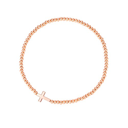 MetJakt Sleek Elastic Beads 18K Gold Plated Classic Stretch Bracelet with Various Pendants (Cross, Rose-Gold-Plated-Base) - Sleek Cross