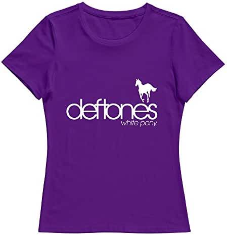 Hoxsin Women's Deftones Rock Band White Pony Humor 100% Cotton T Shirt Black