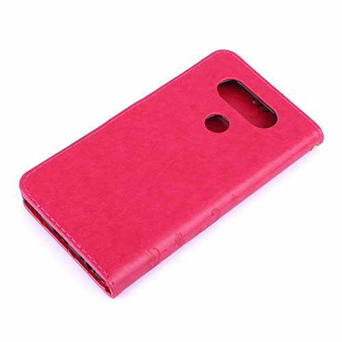 Yiizy LG V20 (H910, H918, LS997. US996. VS995) Custodia Cover, Erba Fiore Design Premium PU Leather Slim Flip Wallet Cover Bumper Protective Shell Pouch with Media Kickstand Card Slots (Red Rose)