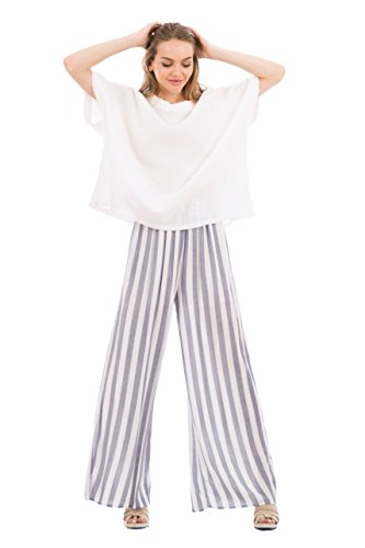 Love In P70010 Wide Leg Striped Pants with Pockets Navy/White M by Love In (Image #3)