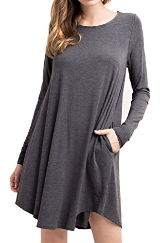 Charcoal Dress Long Women's Sleeve luxe Bamboo Trapeze iconic vqYP0tfw