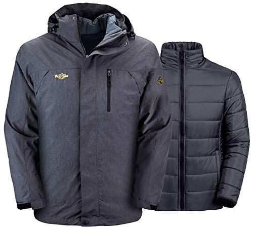 Wantdo Men's 3 in 1 Winter Jacket Waterproof Interchange Ski Coat Dark Grey L