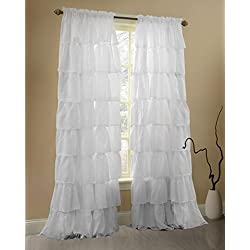 Gee Di Moda White Ruffle Curtains Gypsy Lace Curtains for Bedroom Curtains for Living Room - White 60x63 inch Ruffled Curtains for Kids Room Shabby Chic Curtain for Nursery Kids Curtains for Girls