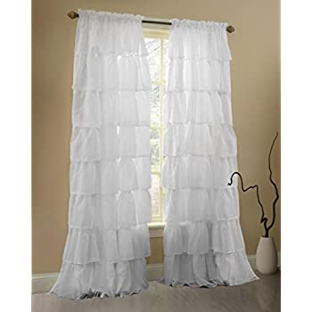 Gee Di Moda White Ruffle Curtains Gypsy Lace Curtains For Bedroom Curtains  For Living Room