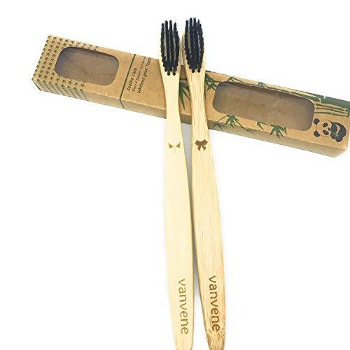 Natural Bamboo Toothbrush Eco-Friendly and Biodegradable - Adults Medium Toothbrush 2 Pack - Bamboo Fiber BPA-Free Bristles - Teeth Whitening -