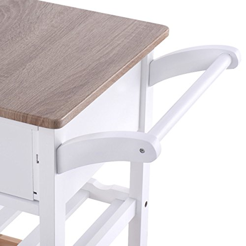 Costzon Kitchen Trolley Island Cart Dining Storage with Drawers Basket Wine Rack by Costzon (Image #4)'