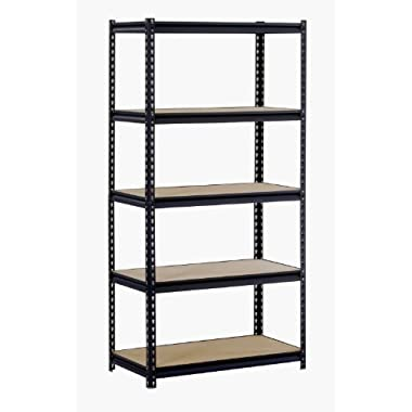 Muscle Rack URWM185BLK Black Steel Storage Rack, 5 Adjustable Shelves, 3000 lb. Capacity, 72  Height x 36  Width x 18  Depth