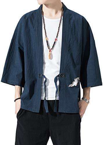 カーディガン メンズ 夏 和式 無地 パーカー ゆったり コート 夏祭り 羽織 前開き 大きいサイズ カジュアル 和風