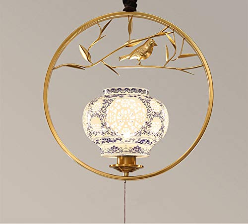 HXSON LED Retor Iron Rund Ring Chinese Style Chandeliers, Blue and White Ceramic Lampshade E27 Screw Creative Bird Decoration Lamp Fixture for Hallway Aisle Restaurant-Gold (Runde Shades)