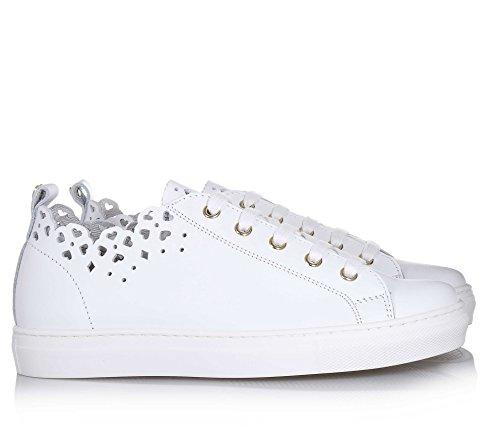 Twin-Set Weißer Schuh mit Schnürsenkeln Aus Leder, phantasievoll und Modisch, Weiße Schnürsenkel, Mädchen, Damen-29