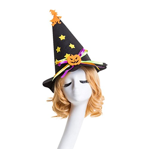 3 Person Halloween Costumes 2016 (Halloween Hat, DKmagic 1Pcs Fashion Masquerade Witch Hat Parties Carnivals Party Decorative (Black))