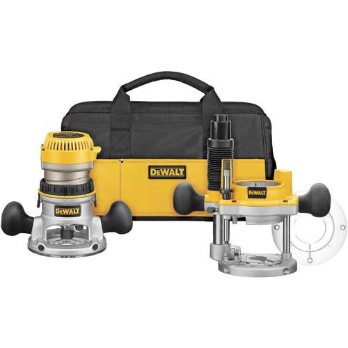 DEWALT DW618PKB 2-1/4 HP EVS Fixed Base/Plunge Router Combo Kit with Soft Start