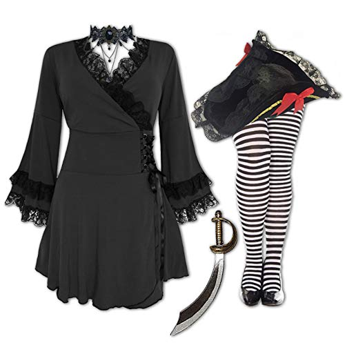 Dare to Wear Plus and Regular Size Women's Halloween Pirate Costume Victoria Top, Hat and Tights 4X -