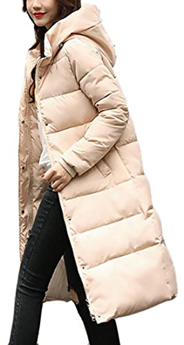 Beige Winter Jacket Cotton Down today Hooded UK Warm Long Overcoat Womens q0nWwgvTwB