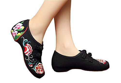 AvaCostume Womens Peony Embroidery Old Beijing Oxford Sole Casual Walking Shoes Black