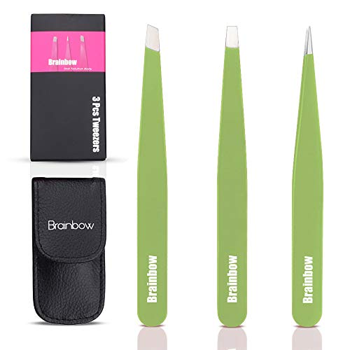 Tweezers for Eyebrows,Set of 3 Precision Stainless Steel Eyebrow Tweezers - Flat, Slant and Point Tweezers for Women Ingrown Hair Remover(Green)