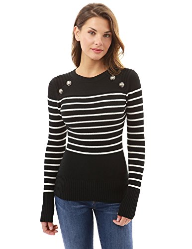 (PattyBoutik Women Crewneck Striped Military Sweater (Black and Ivory)