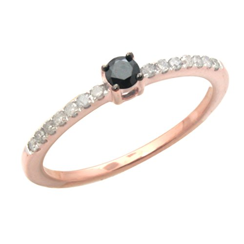 Prism Jewel 0.22Ct Black & White Diamond Solitaire Accent Ring, 10k Rose Gold, Size 8