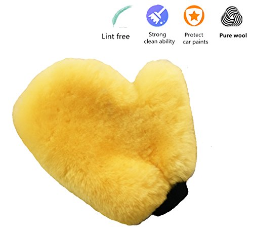 - OKAYDA Sheepskin Car Wash Mitts Super Soft, High Density, No Scratch and Lint Free Reusable Wool Wash & Wax Mitten with Thumb Design for Auto Beige Style 4