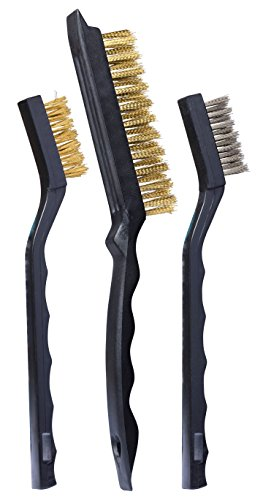 Heavy Duty Wire Scratch Brush - 3-Piece Mini Detailing Wire Brush Set, Heavy Duty, Crimped Scratch Brush, Brass, Stainless Steel, curved handle for use in hard-to-reach areas.