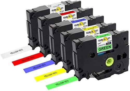 5 Stück 12mm Schriftband Für P-Touch PT-E550W PT-H100 TZ 431 531 631 731
