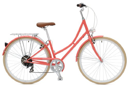 Critical Cycles Dutch Style City Bike Seven Speed Hybrid Urban Commuter Road Bicycle, Coral, 44cm/Large
