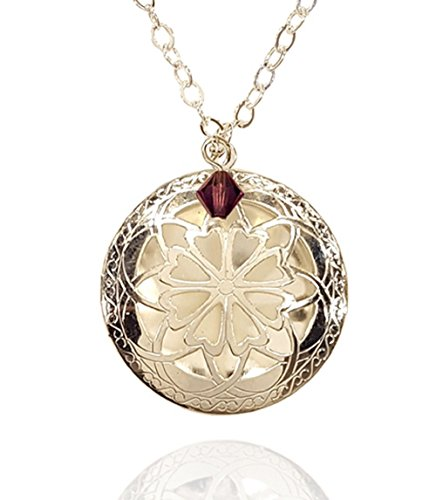 February Birth Month Necklace Swarovski Silver-tone Celtic Essential Oil Diffuser Jewelry Aromatherapy Locket Pendant with Charms Includes reusable felt pads