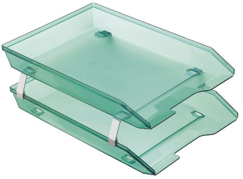 (Acrimet Facility 2 Tiers Double Letter Tray Front Load Design (Clear Green Color))